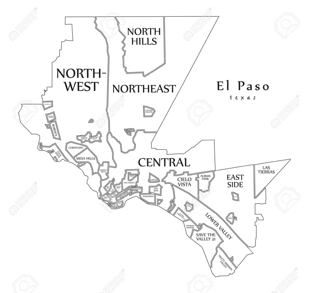 Modern City Map - El Paso Texas City Of The Usa With Neighborhoods - Where Is El Paso Texas On The Map