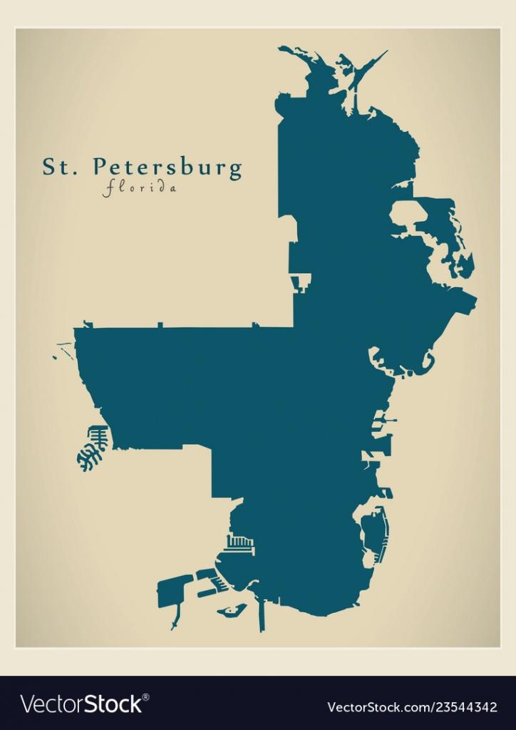 Modern City Map - St Petersburg Florida City Of Vector Image - City Map Of St Petersburg Florida
