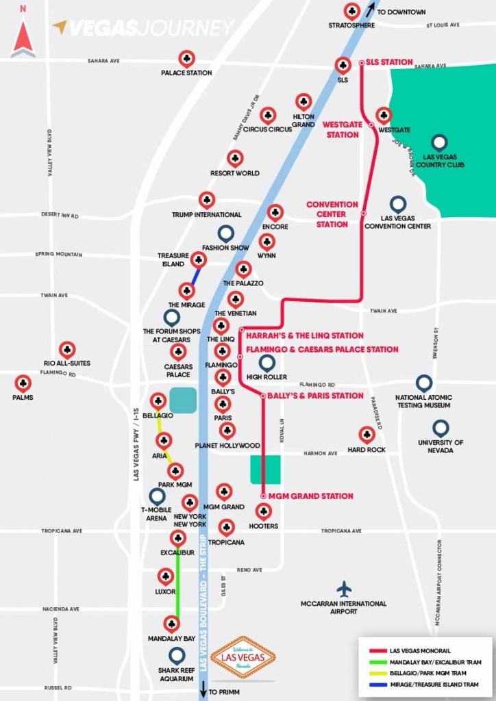 Monorail, Tram & Strip Map | Las Vegas Maps | Vegasjourney - Printable Las Vegas Strip Map 2017