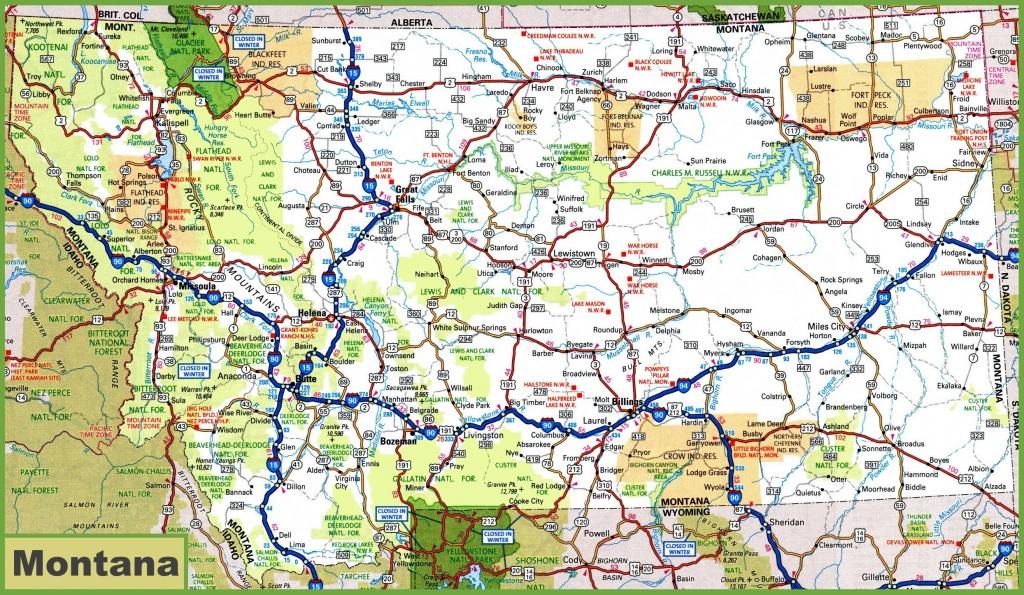 Montana Road Map - Printable Map Of Montana