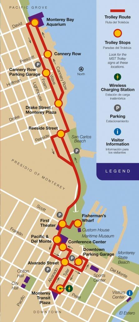 Monterey Trolley Map | San Francisco In 2019 | City Of Monterey, San - Monterey Bay California Map