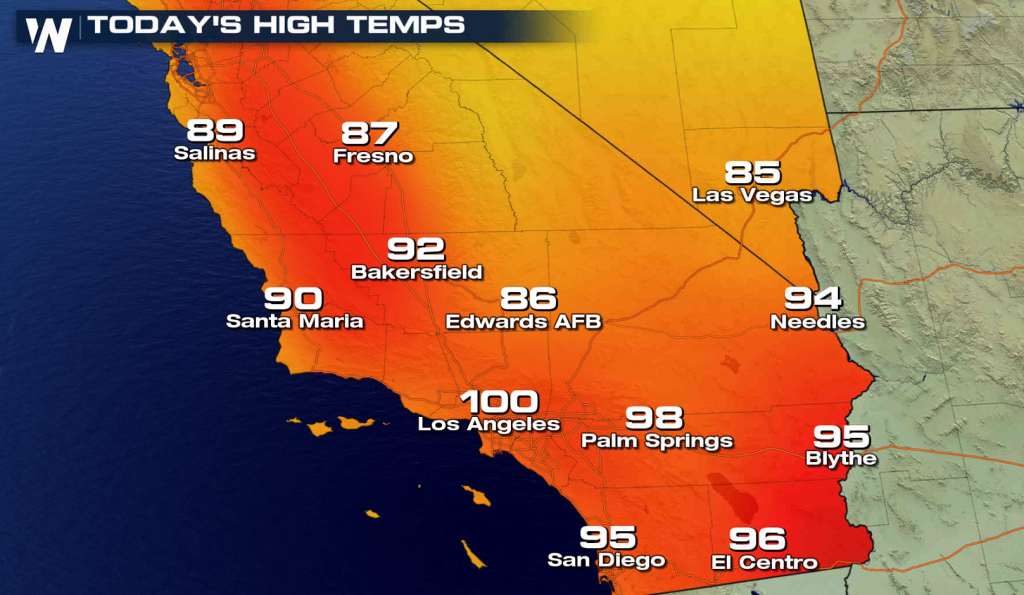 More Record Heat In Southern California - Hot Again For The World - Southern California Heat Map