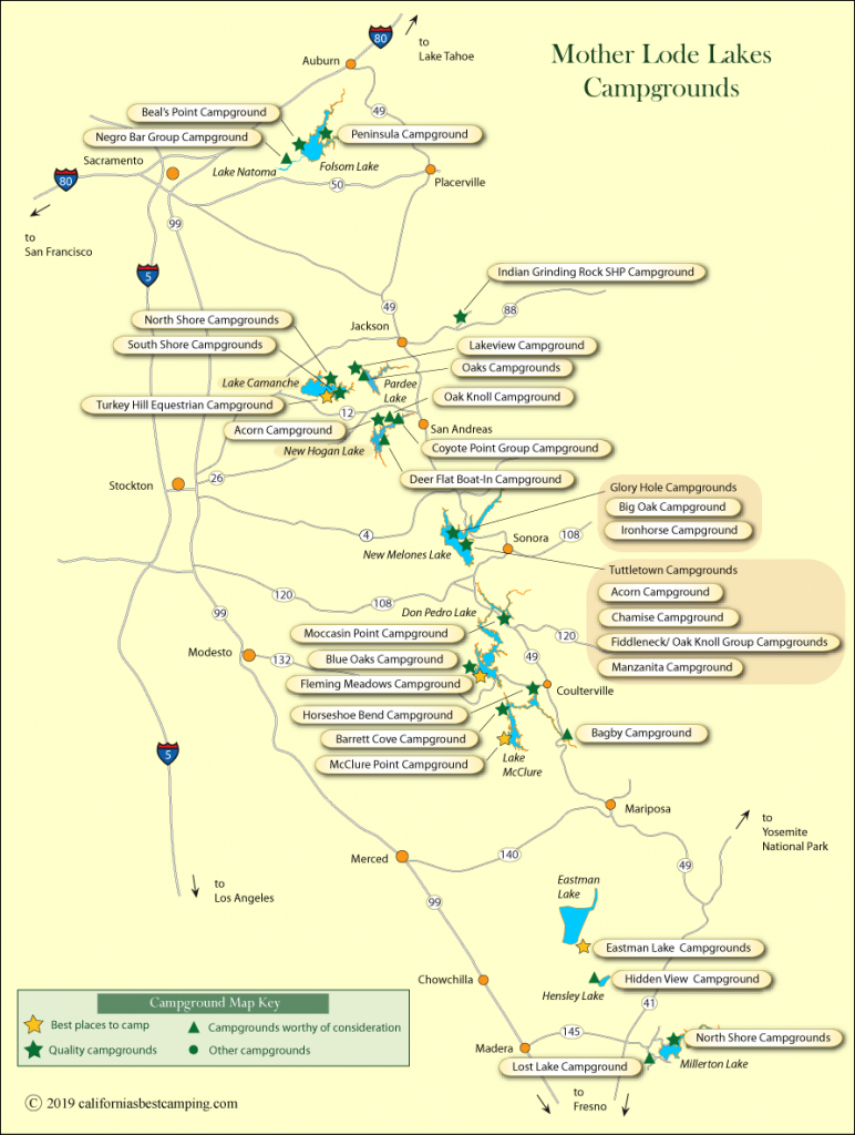 Mother Lode Lakes Campground Map - California Mother Lode Map