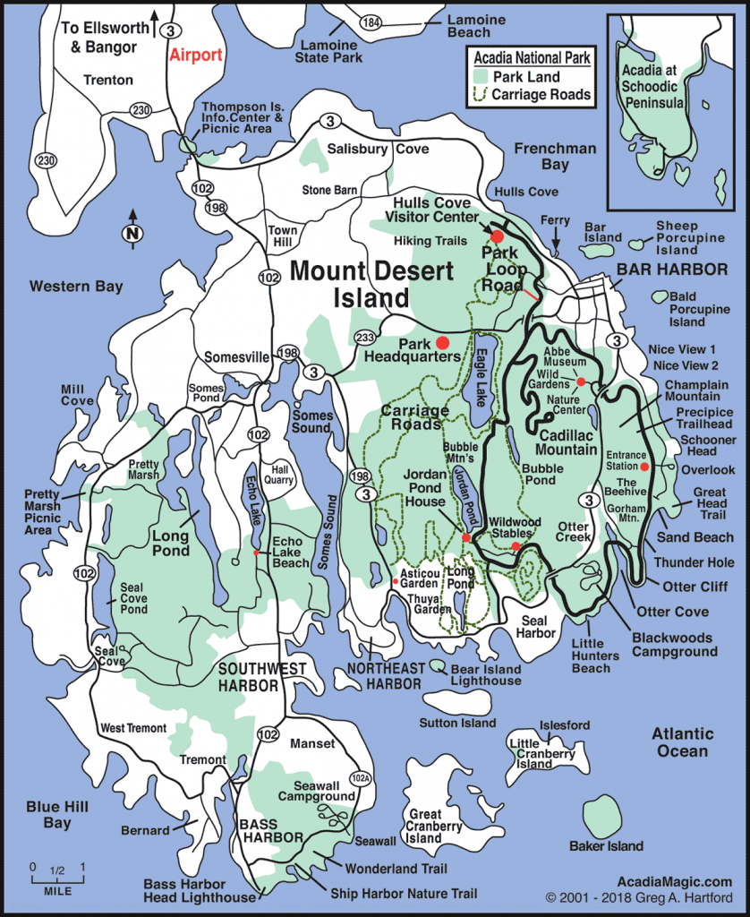 Mount Desert Island Map - Acadia Maine - Printable Map Of Maine Lighthouses