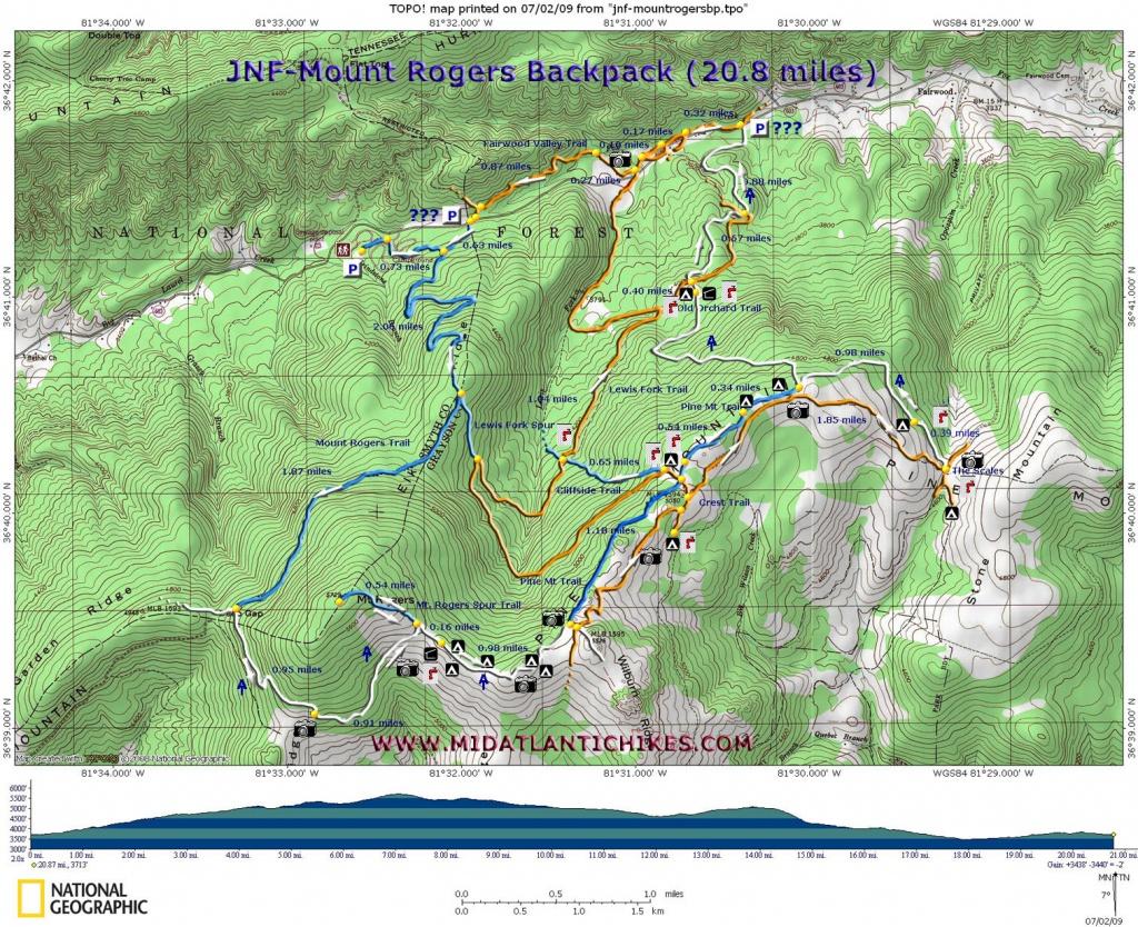 Mount Rogers Backpack - Printable Hiking Maps
