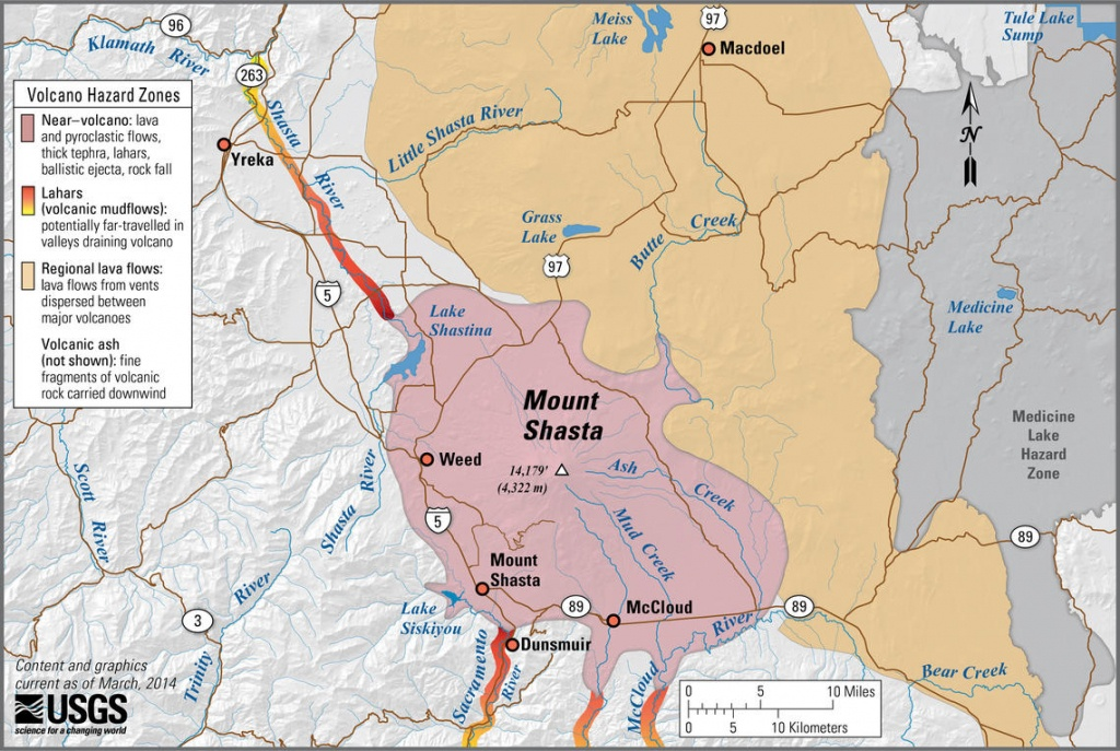 Mount Shasta, Ca Simplified Hazards Map Showing Potential Impact Ar - Mount Shasta California Map