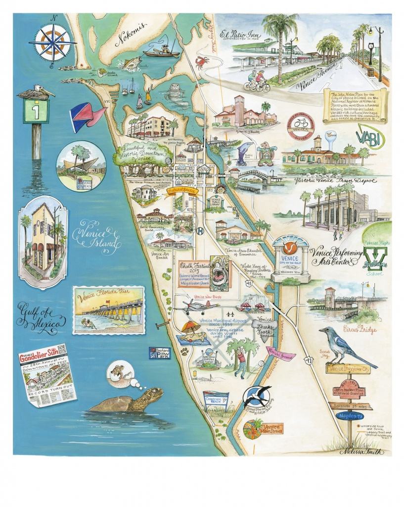 My Home Town, Beautiful And Historical Venice Florida. Custom Map - Map Of Florida Showing Venice Beach