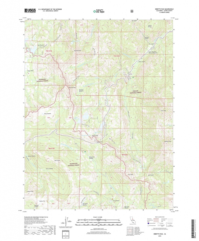 Mytopo Ebbetts Pass, California Usgs Quad Topo Map - Printable Maps By Waterproofpaper Com