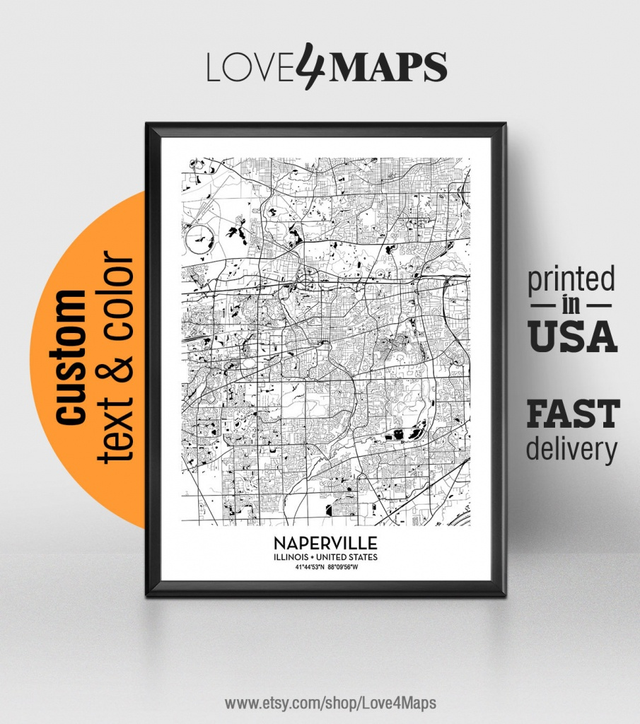 Naperville Illinois Map Naperville City Print Naperville   Etsy - Printable Map Of Naperville Il
