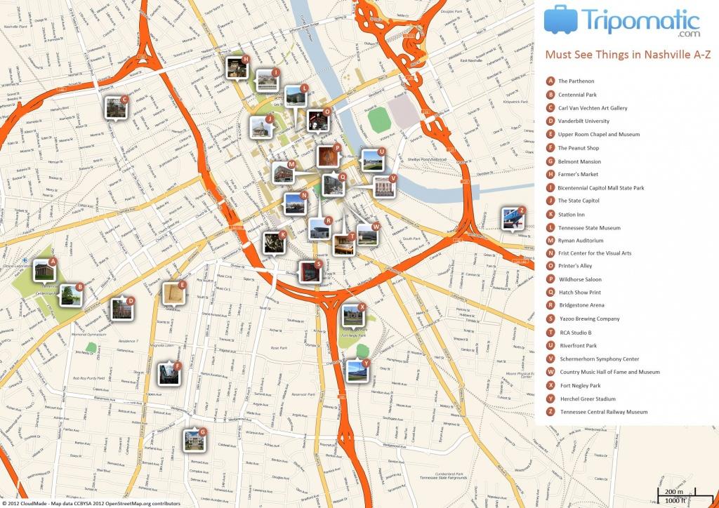 Nashville Printable Tourist Map   Free Tourist Maps ✈   Nashville - Printable Map Of Nashville Tn
