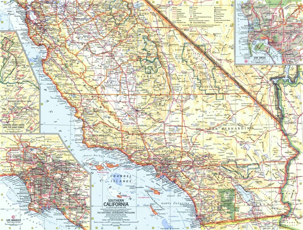 National Geographic Southern California Map 1966 - Maps - Detailed Map Of Southern California
