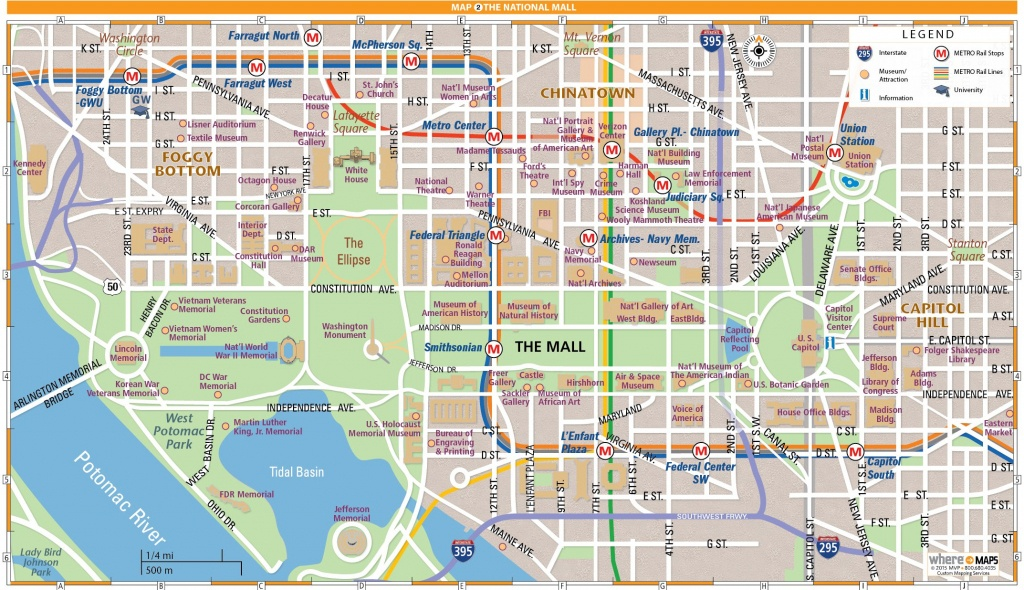 National Mall Map In Washington, D.c. | Wheretraveler - Free Printable Map Of Washington Dc