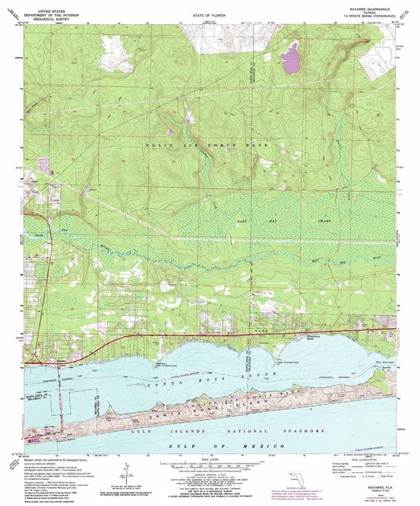 Navarre Topographic Map, Fl - Usgs Topo Quad 30086D7 - Navarre Florida Map