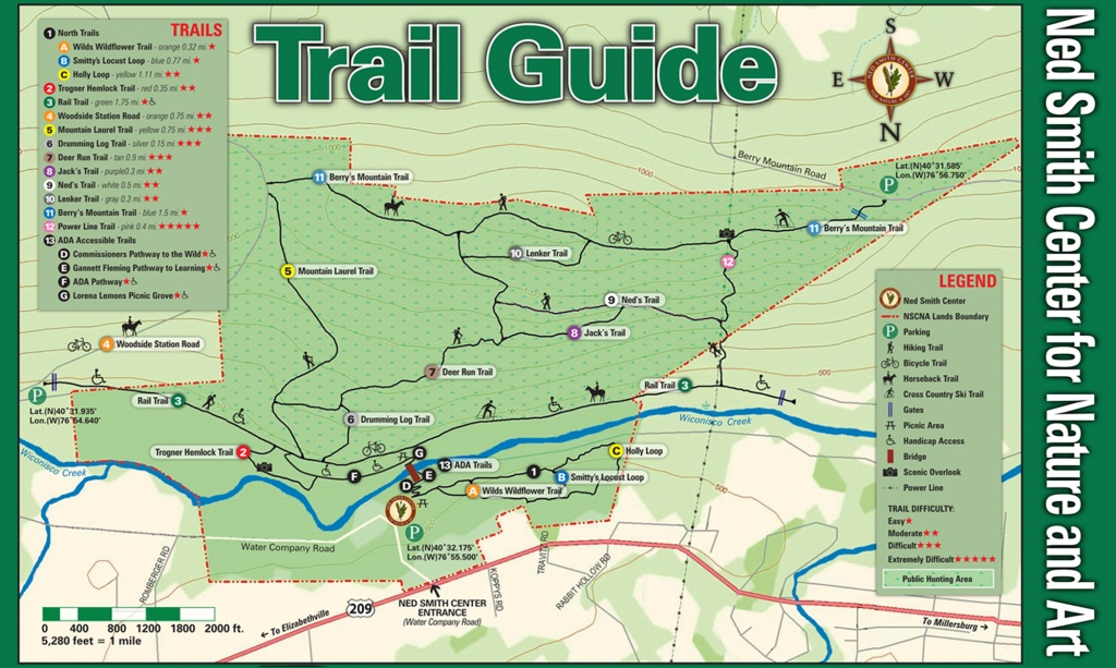 Ned Smith Center Lands And Trails | Ned Smith Center For Nature And Art - Printable Hiking Maps