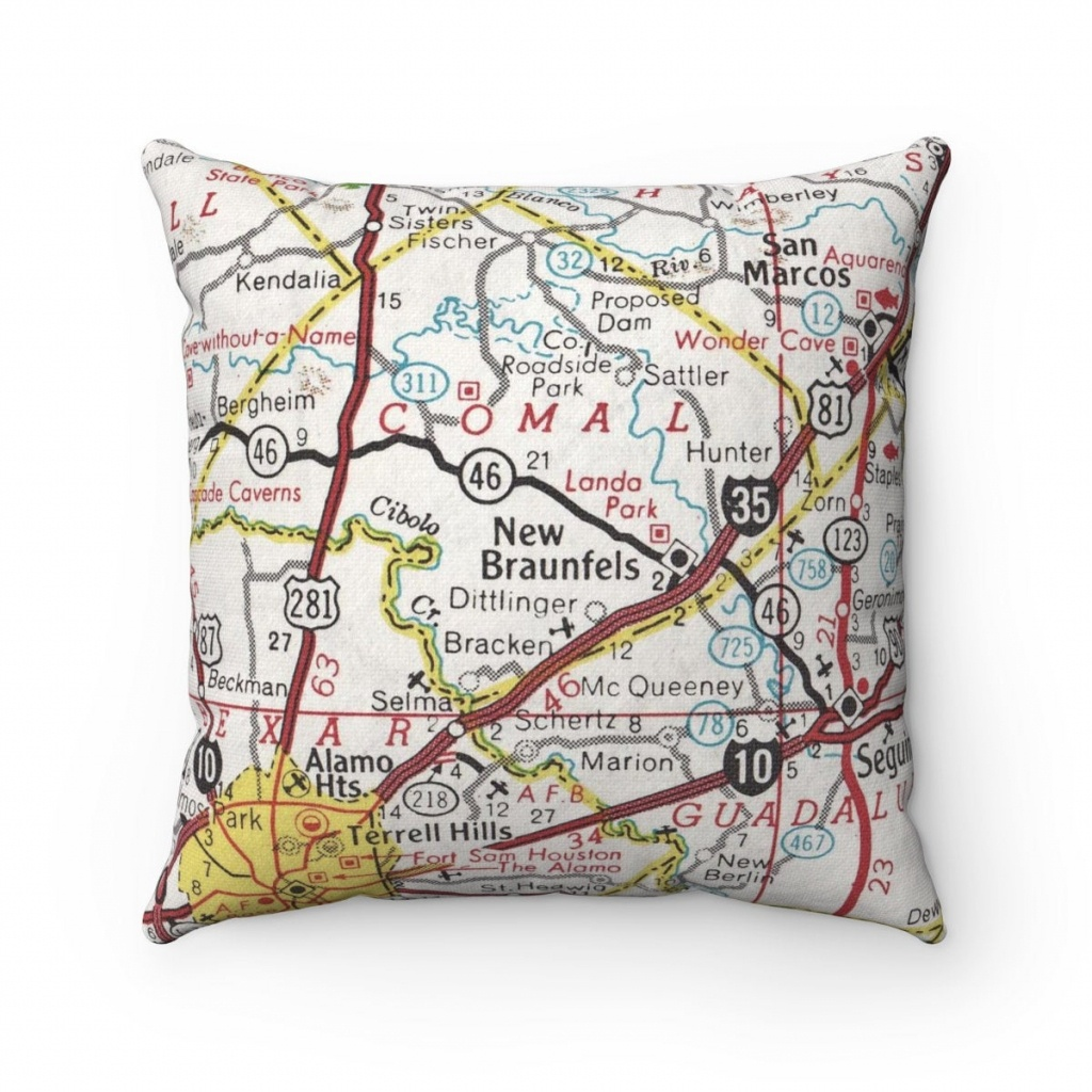 New Braunfels Texas Vintage Map Pillow New Braunfels Pillow | Etsy - Texas Map Pillow