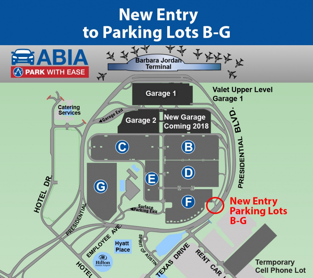 New Entry To Parking Lots B-G Open | Austintexas.gov - The Official - Austin Texas Airport Terminal Map