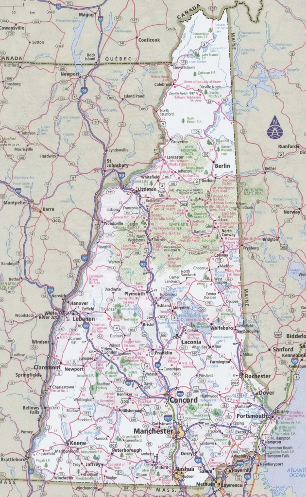 New Hampshire Road Map - Printable Road Map Of New Hampshire