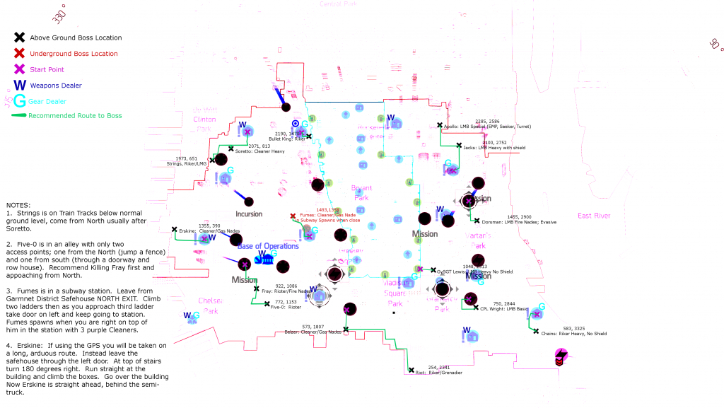 New Light Zone/lz Boss Map With Multiple Versions (Including - The Division Printable Map