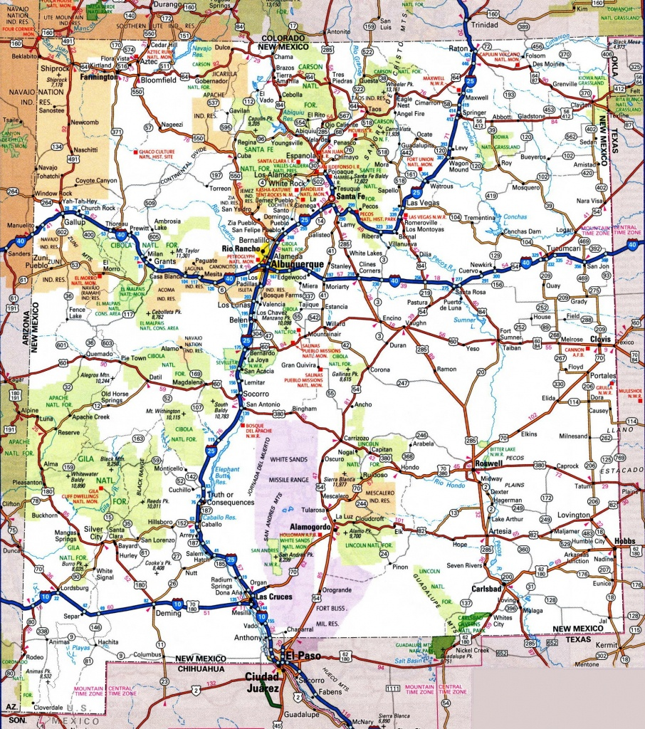 New Mexico Road Map - Printable Map Of New Mexico