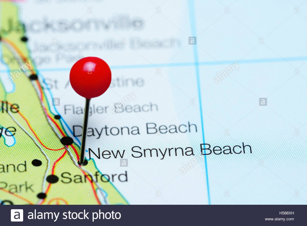 New Smyrna Beach Pinned On A Map Of Florida, Usa Stock Photo - New Smyrna Beach Florida Map