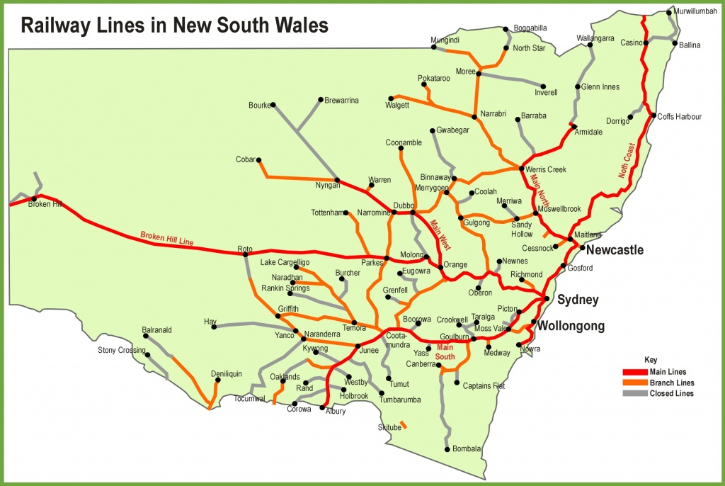 New South Wales Railway Map - Printable Map Of Nsw