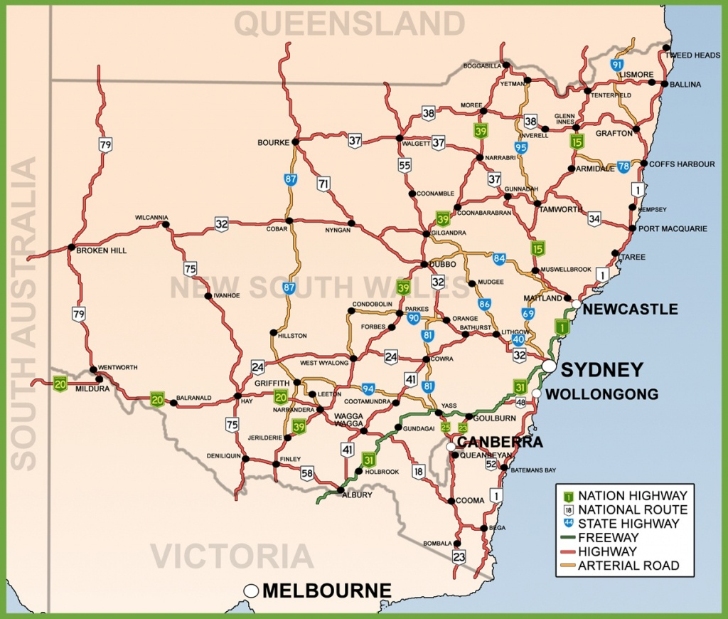 New South Wales Road Map - Printable Map Of Nsw