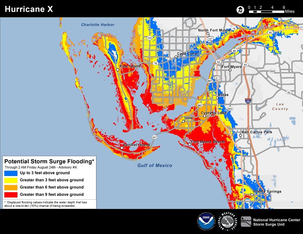 New Storm Surge Maps Show Deadliest Areas During Hurricane | Weatherplus - Naples Florida Flood Map