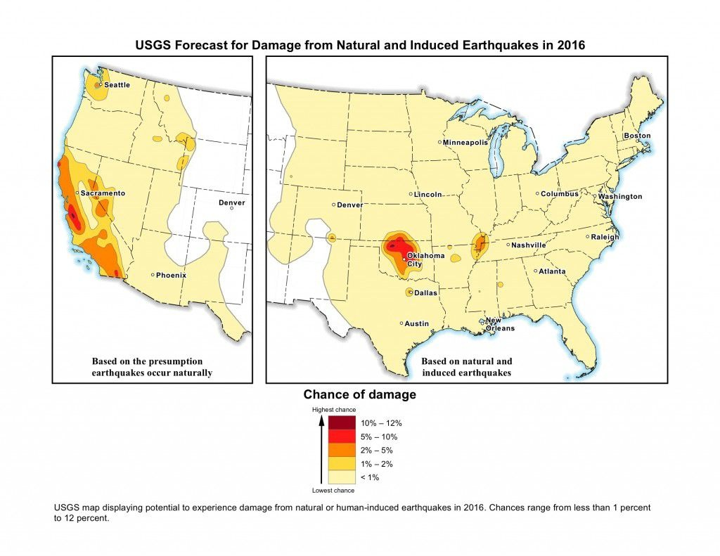 New Usgs Map Shows Man-Made Earthquakes Are On The Rise | Smart News - Usgs Earthquake Map Texas