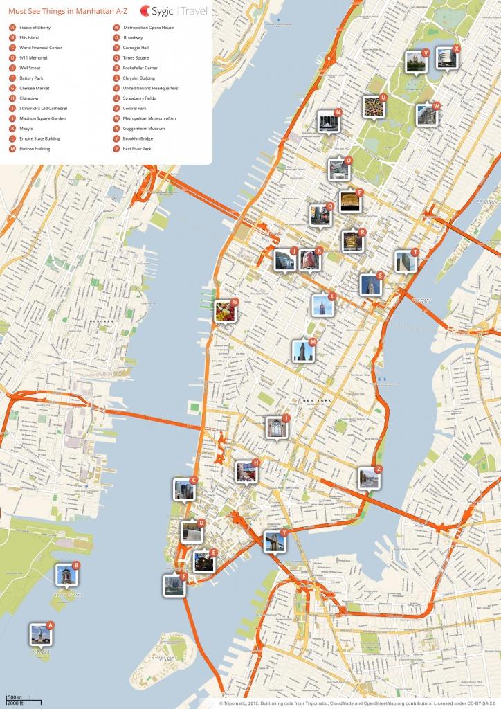 New York City Manhattan Printable Tourist Map | Sygic Travel - Street Map Of New York City Printable