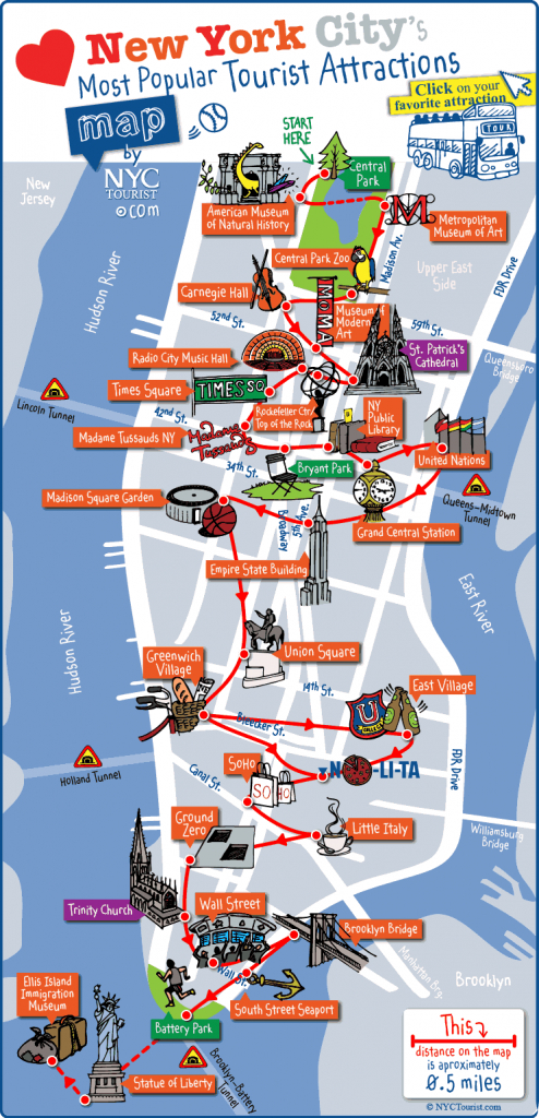 New York City Most Popular Attractions Map - Manhattan Sightseeing Map Printable