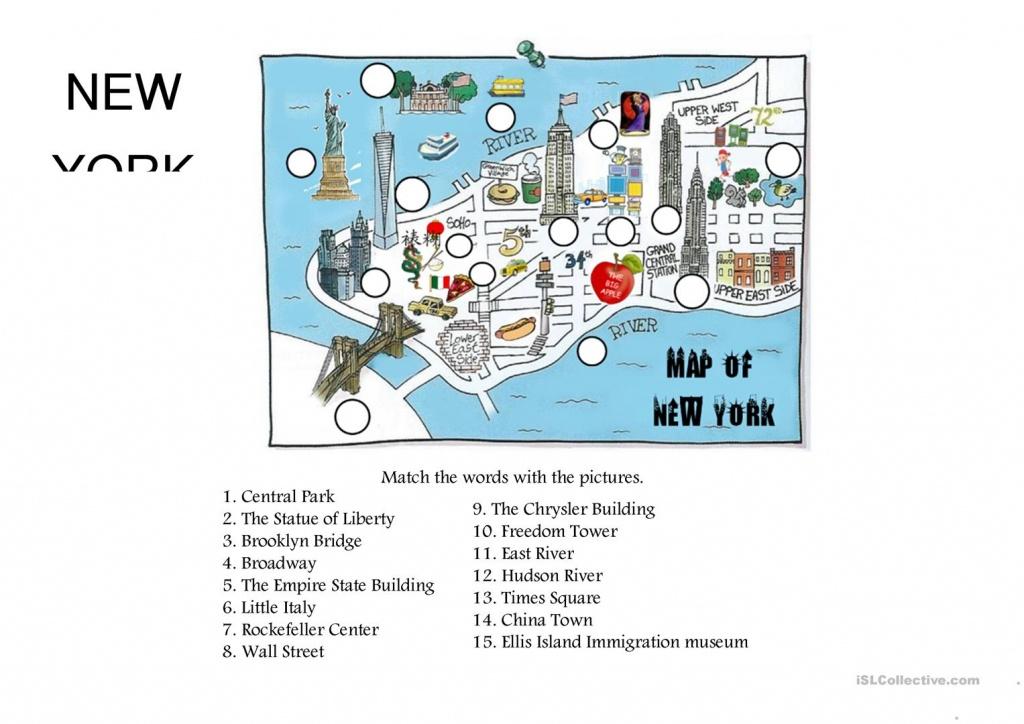New York City Top Sites Worksheet - Free Esl Printable Worksheets - Vocabulary Maps Printable Free