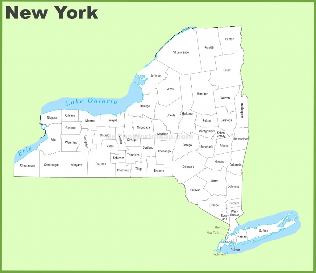 New York County Map - Printable Map Of New York State