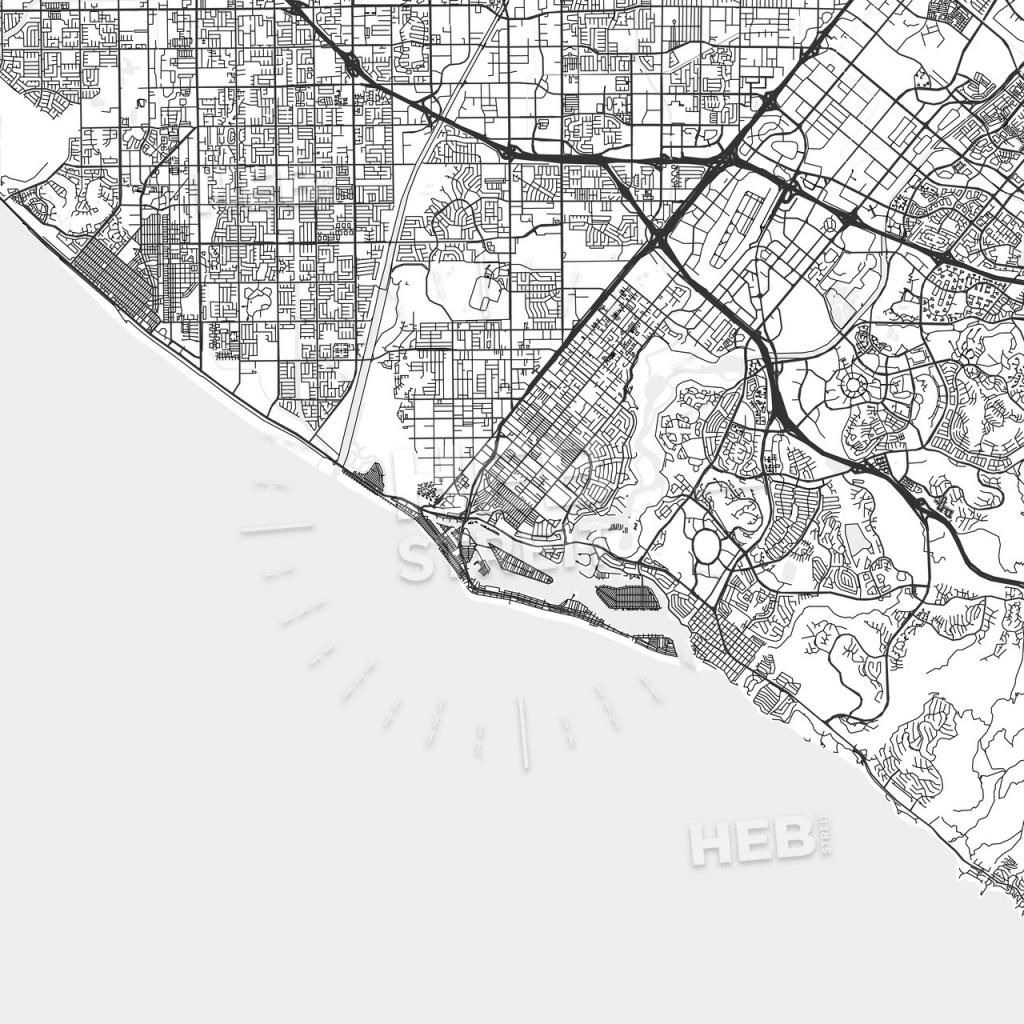 Newport Beach, California - Area Map - Light | Hebstreits Sketches - Newport California Map