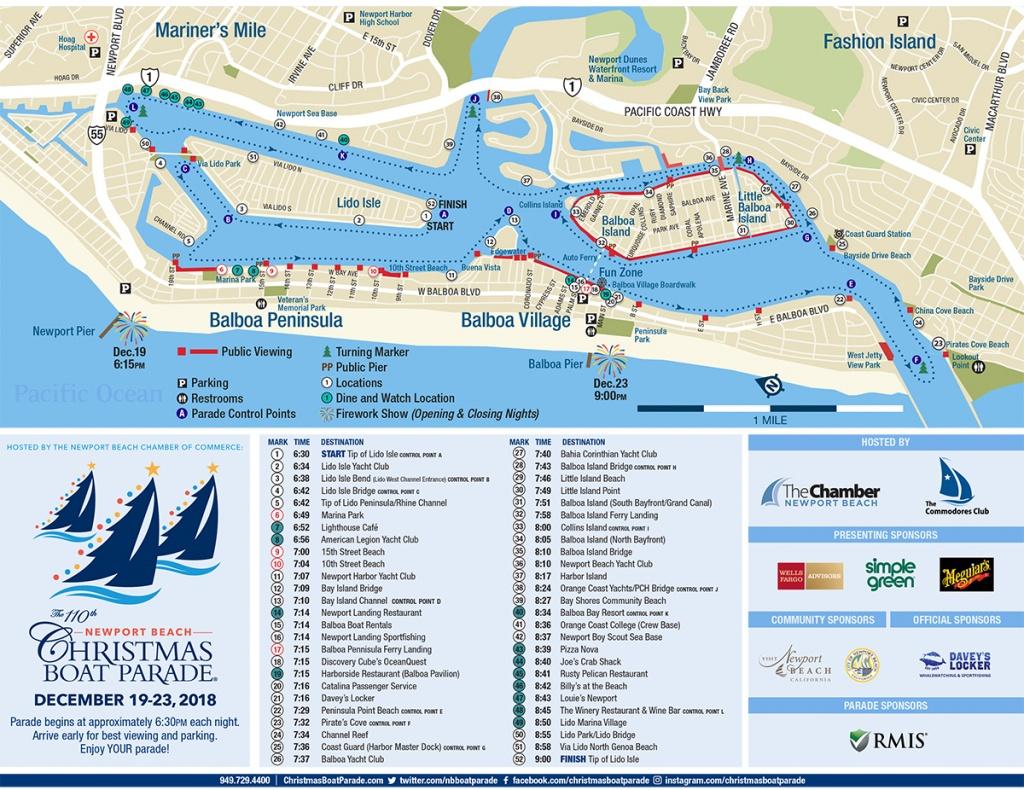 Newport Beach Christmas Boat Parade | Chrismas Boat Parade - Newport California Map