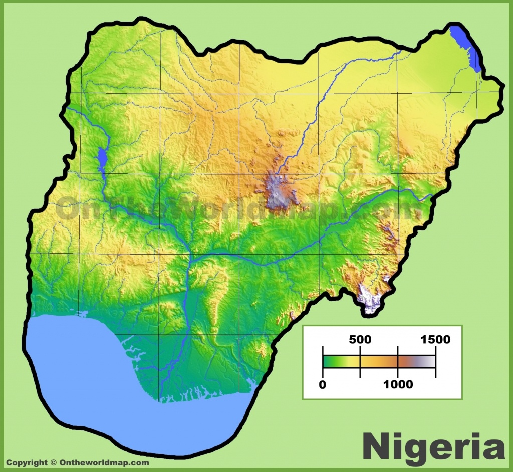 Nigeria Physical Map - Printable Map Of Nigeria