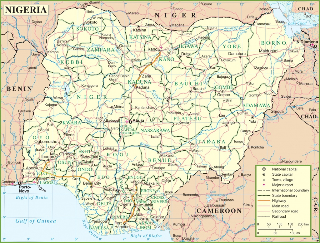 Nigeria Road Map - Printable Map Of Nigeria