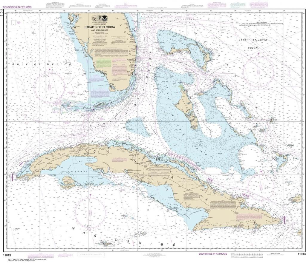 Noaa Chart 11013. Nautical Chart Of Straits Of Florida And - Nautical Maps Florida