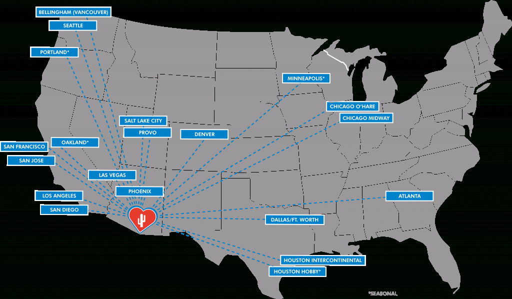 Nonstop Destinations To/from Tucson International Airport (Tus) - Florida Airports Map