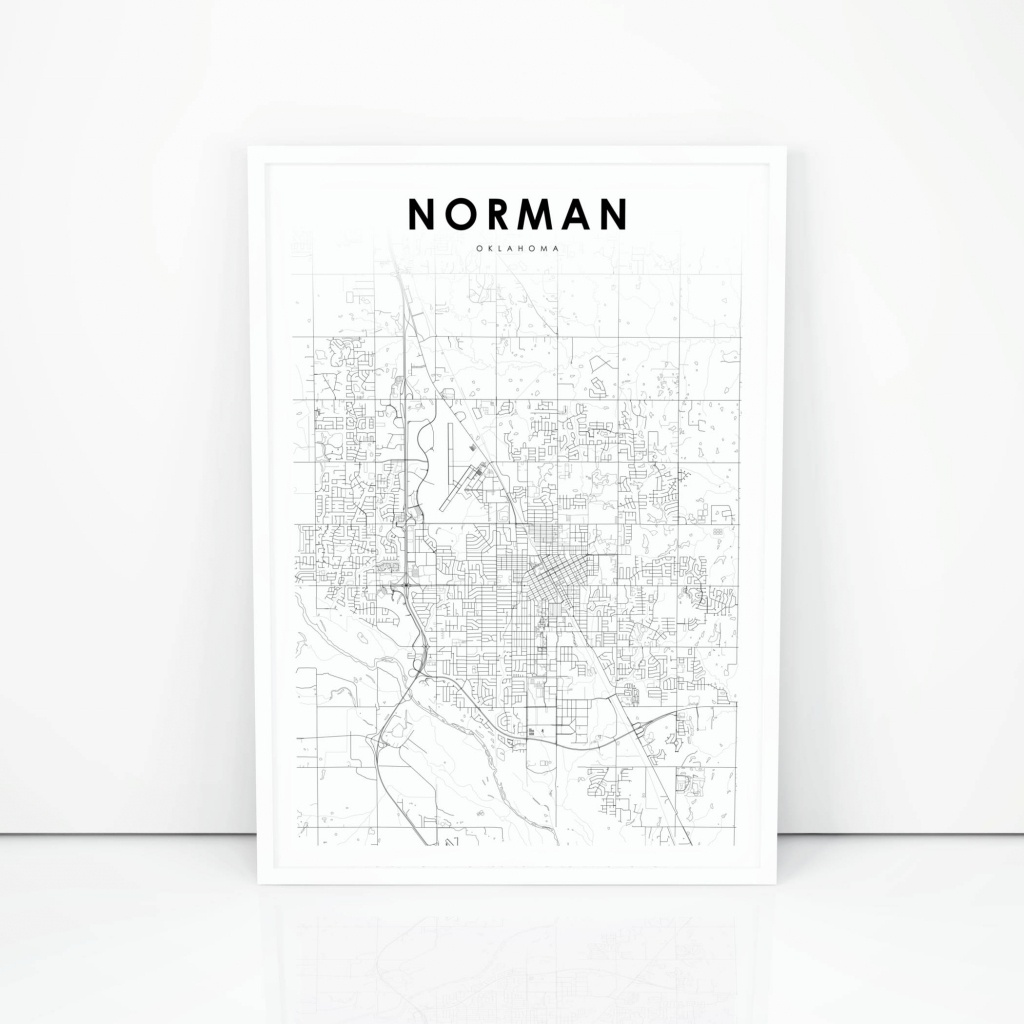 Norman Map Print Oklahoma Ok Usa Map Art Poster City Street | Etsy - Printable Map Of Norman Ok