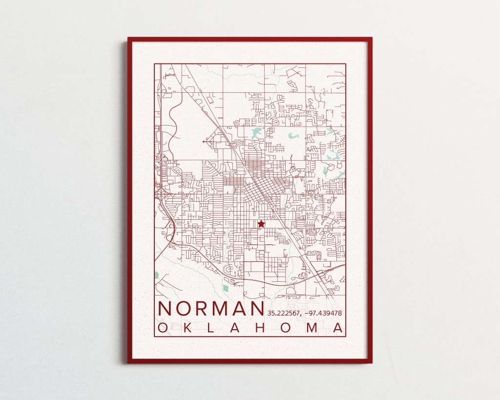 Norman Oklahoma Map University Of Oklahoma Poster Print City Sooners - Printable Map Of Norman Ok