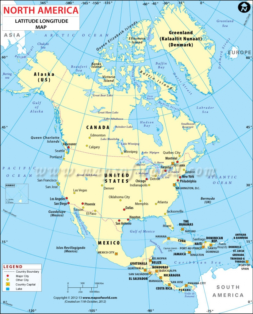 North America Latitude And Longitude Map - Us Map With Latitude And Longitude Printable