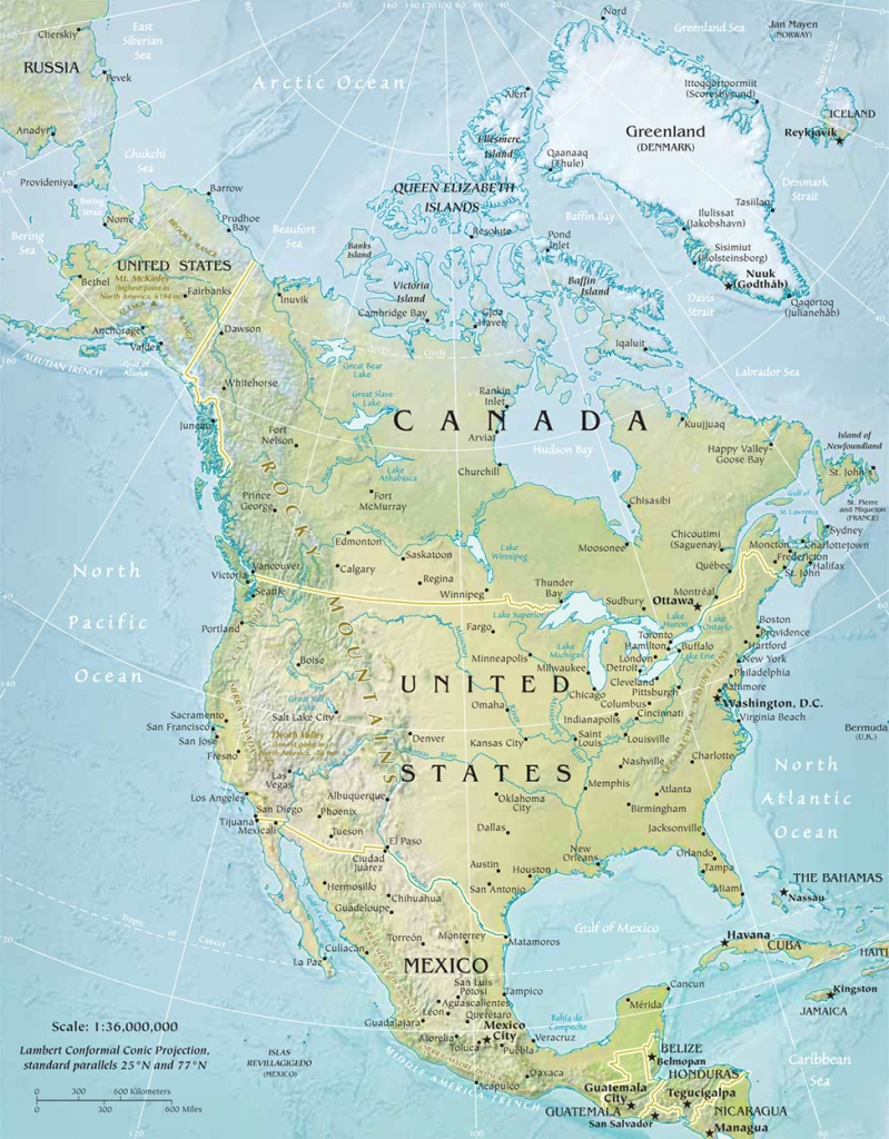 North America Physical Map - Printable Physical Map Of North America