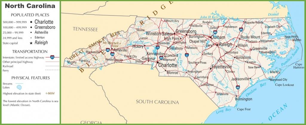 North Carolina Highway Map - Printable Map Of North Carolina