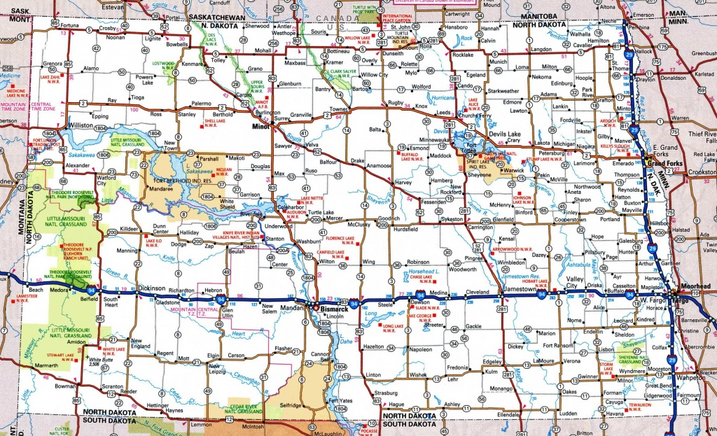 North Dakota Road Map - Printable Map Of South Dakota