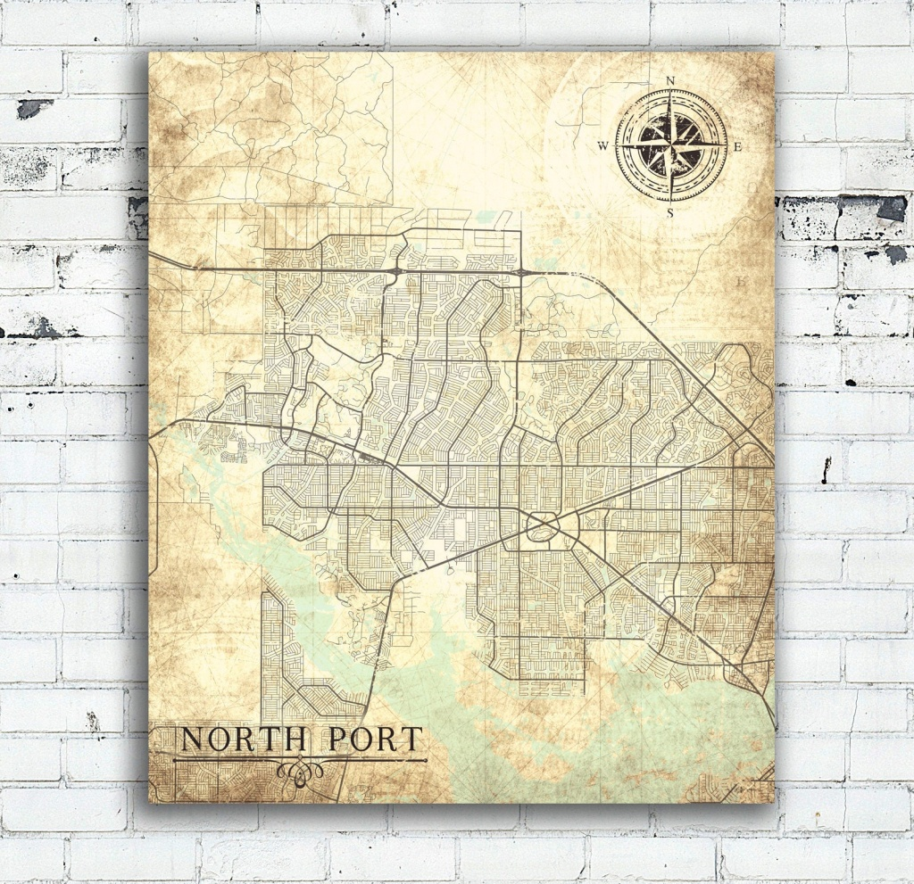 North Port Fl Canvas Print Florida Fl Vintage Map North Port Fl City - Where Is North Port Florida On A Map