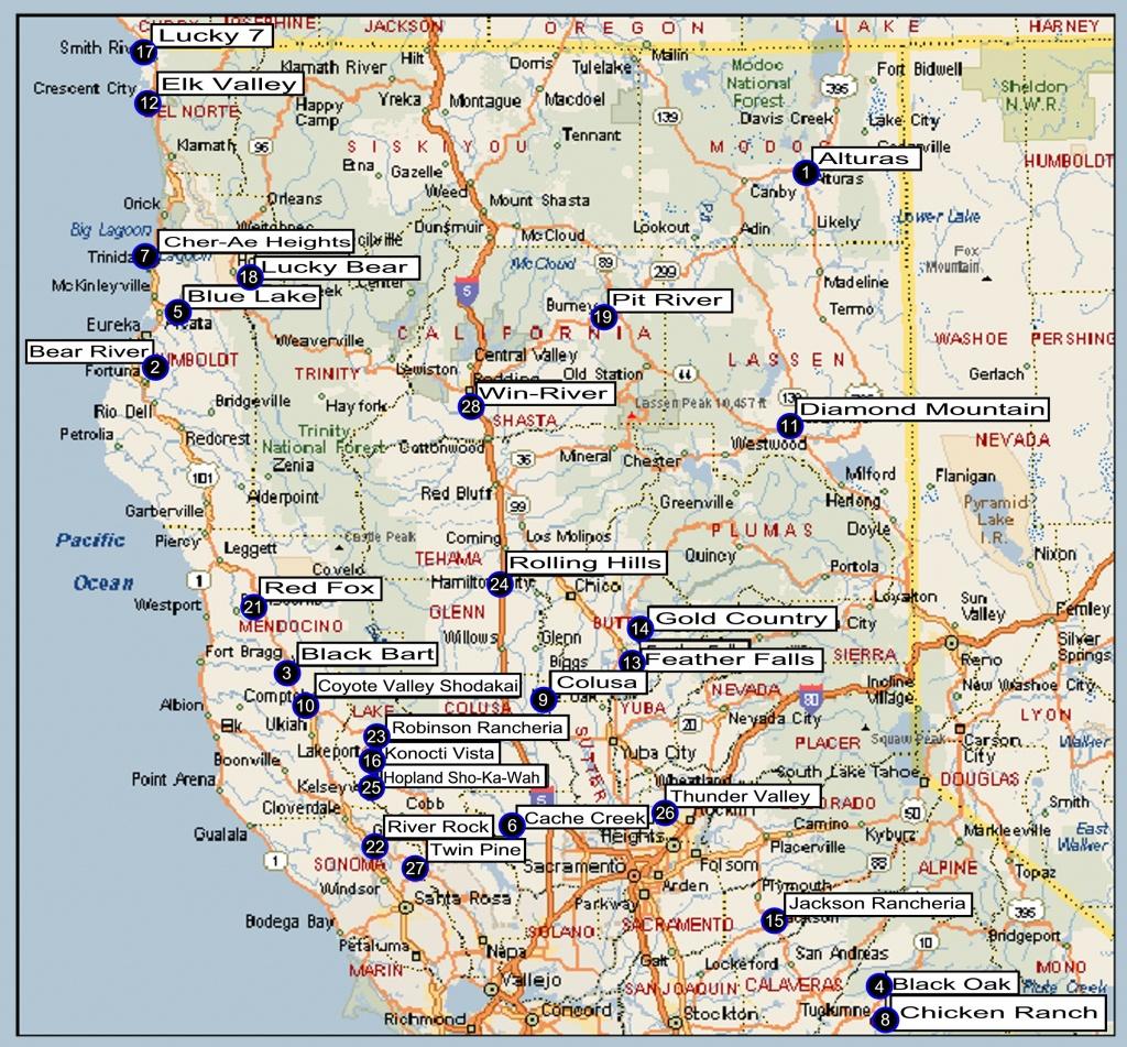 Northern California Regional Directory - Northern California Casinos Map