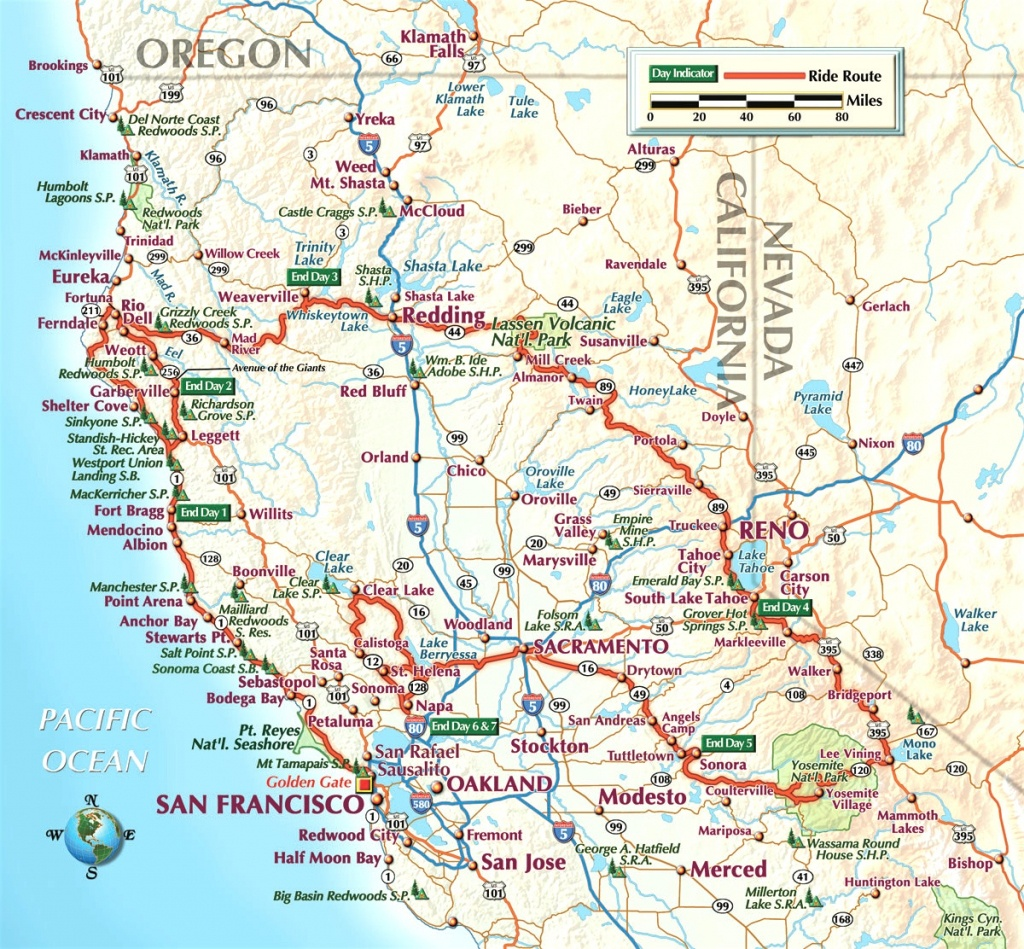 Northern California Road Map And Travel Information   Download Free - Northern California Highway Map