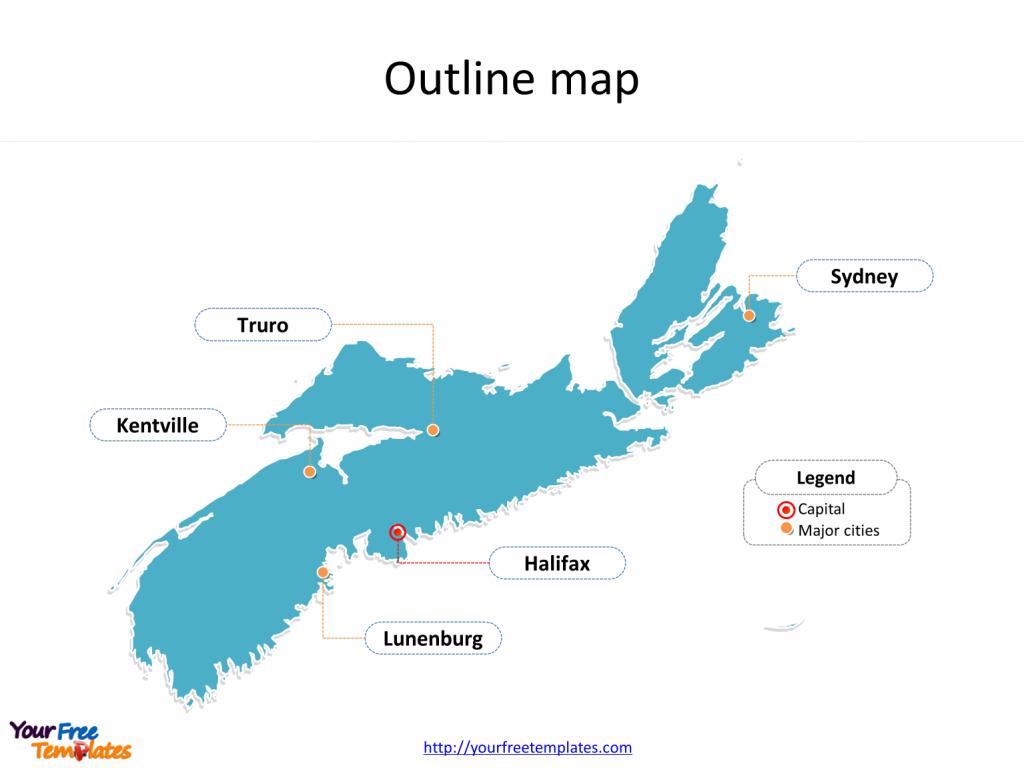 Nova Scotia Map Templates - Free Powerpoint Templates - Printable Map Of Nova Scotia Canada