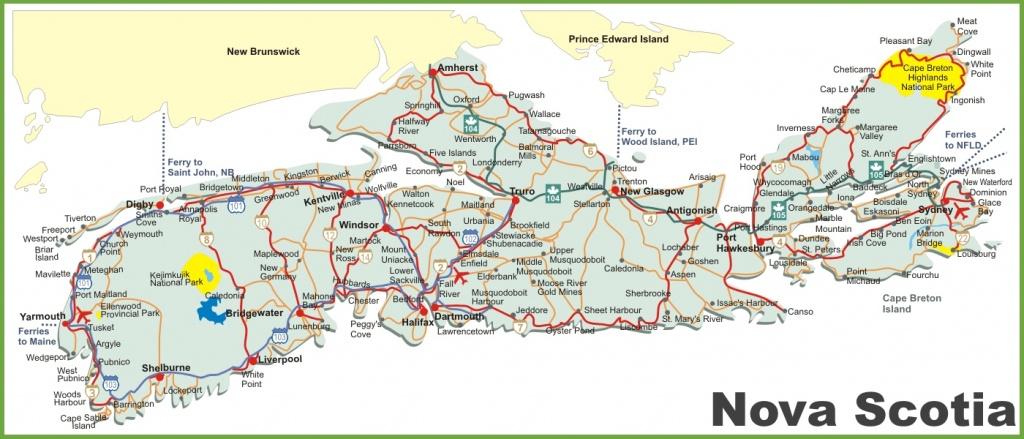 Nova Scotia Road Map - Printable Map Of Nova Scotia
