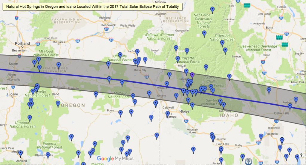 Nw Hot Springs In The Path Of Totality - 2017 Solar Eclipse - Natural Hot Springs California Map